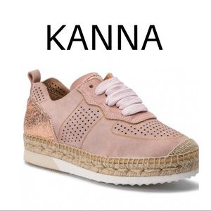 KANNA Pink sparkle perforated Espadrille Sneakers